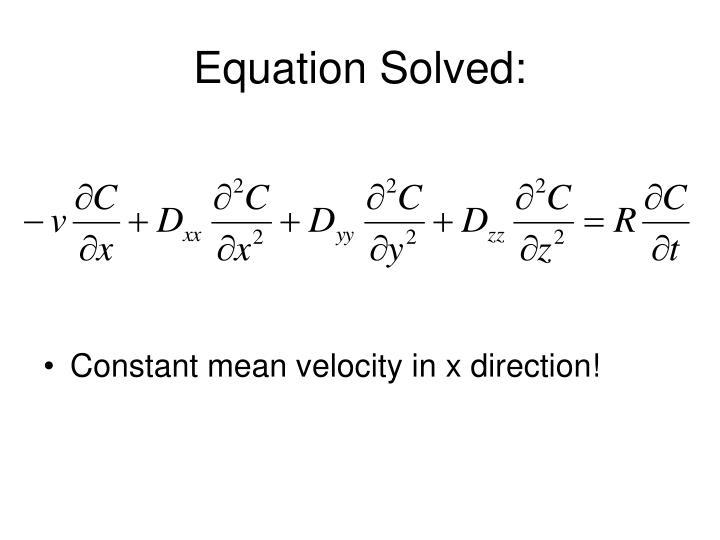 Equation solved