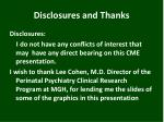 disclosures and thanks
