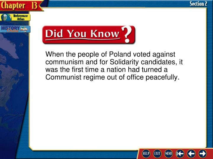 When the people of Poland voted against communism and for Solidarity candidates, it was the first time a nation had turned a Communist regime out of office peacefully.