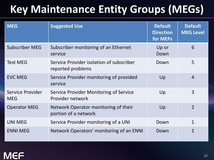 Key Maintenance Entity Groups (MEGs)