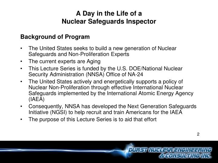 A day in the life of a nuclear safeguards inspector1