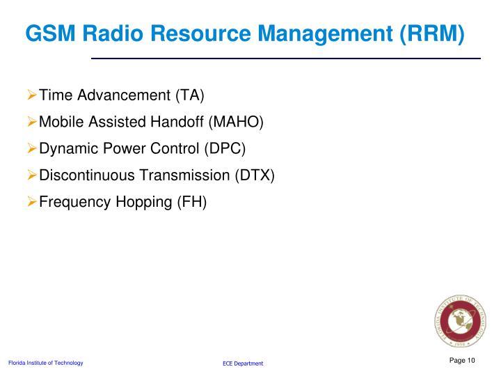GSM Radio Resource Management (RRM)