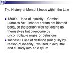 the history of mental illness within the law