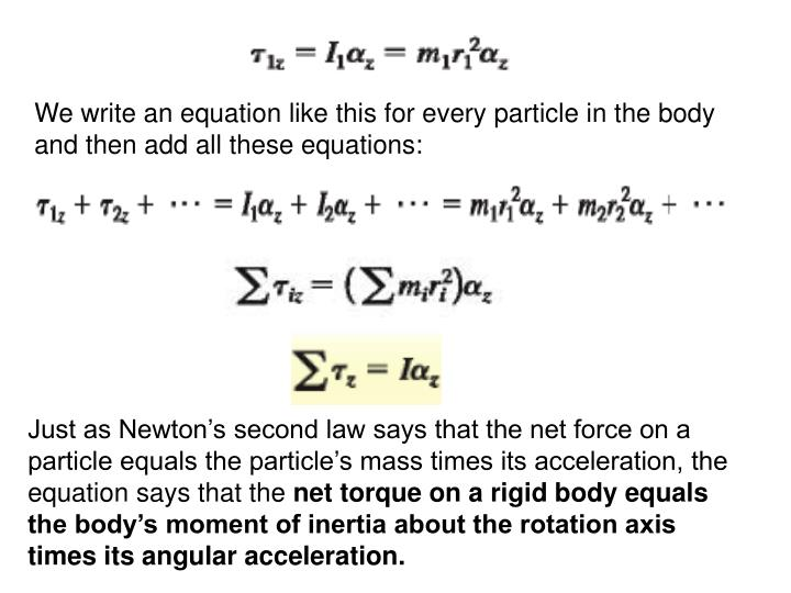 We write an equation like this for every particle in the body and then add all these equations: