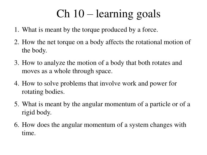 Ch 10 – learning goals