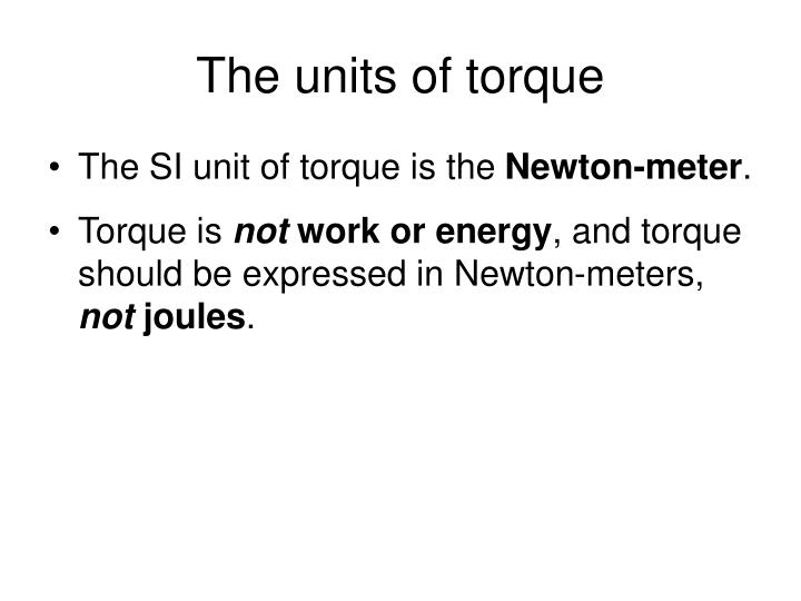 The units of torque