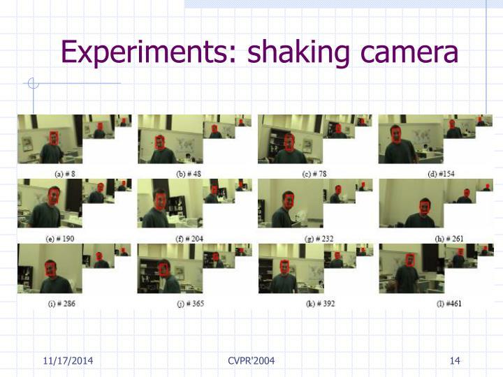 Experiments: shaking camera