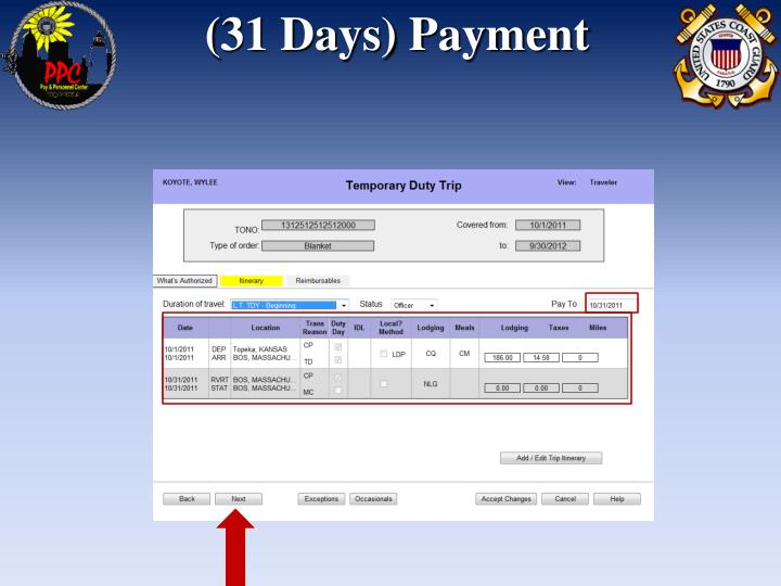 (31 Days) Payment