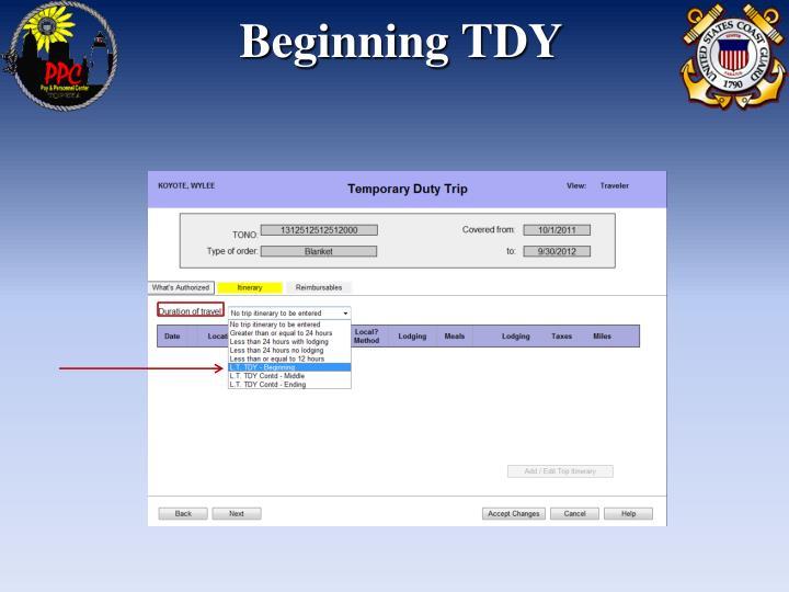 Beginning TDY
