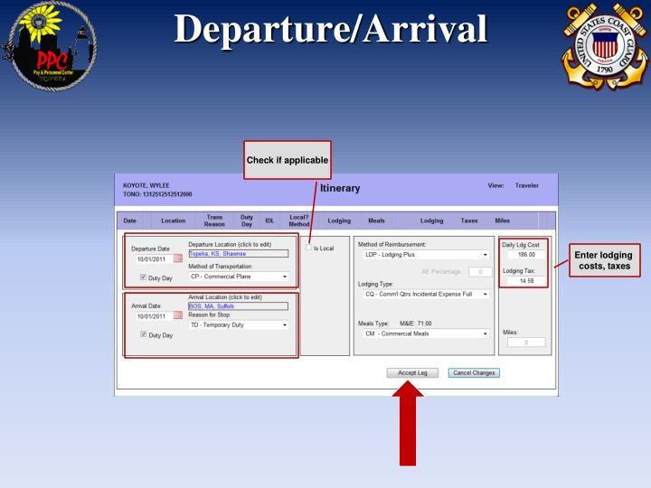 Departure/Arrival