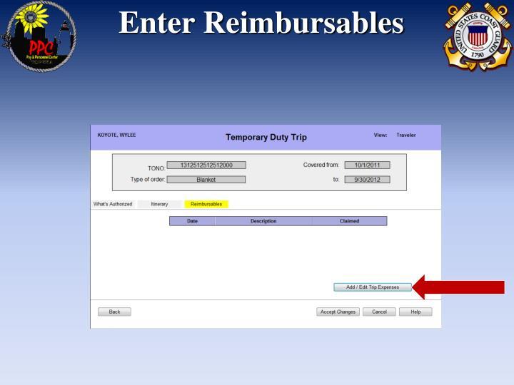 Enter Reimbursables