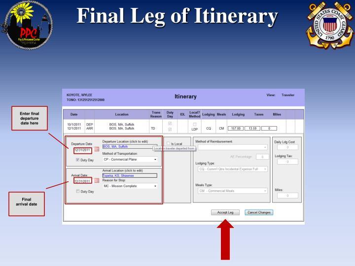 Final Leg of Itinerary