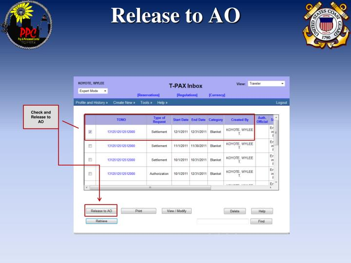 Release to AO