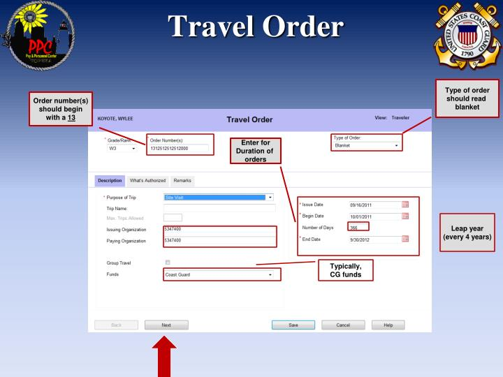 Travel order