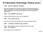 ic fabrication technology history cont