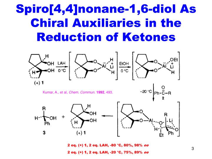 Spiro 4 4 nonane 1 6 diol as chiral auxiliaries in the reduction of ketones