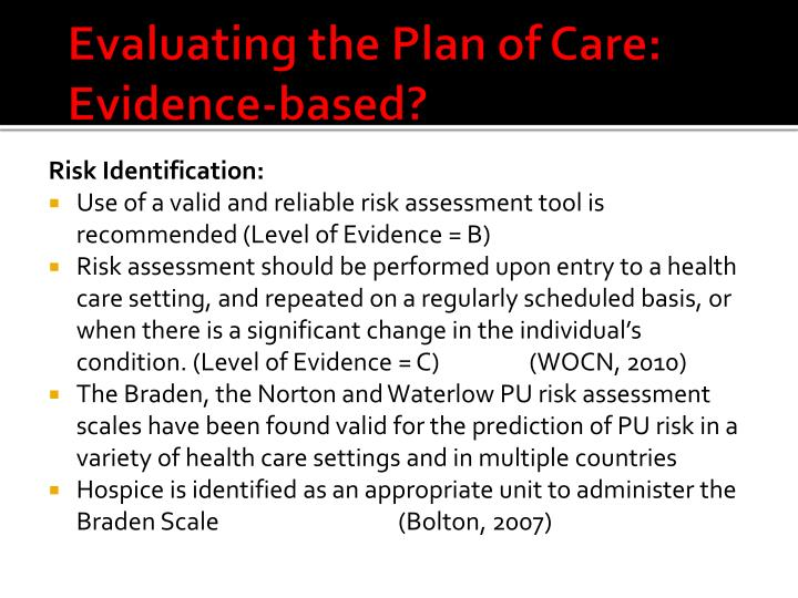 Evaluating the Plan of Care: Evidence-based?