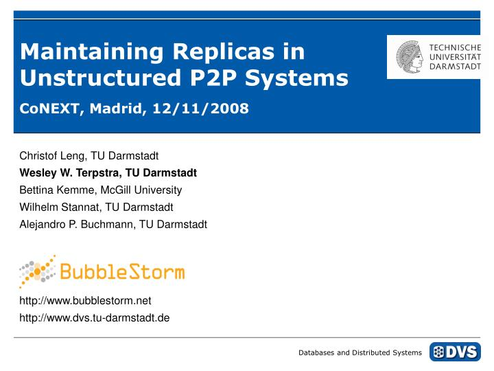 Maintaining replicas in unstructured p2p systems