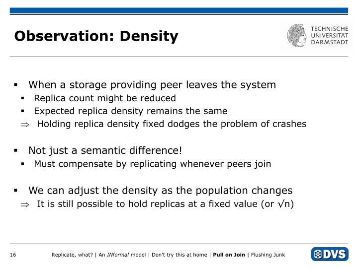 Observation: Density