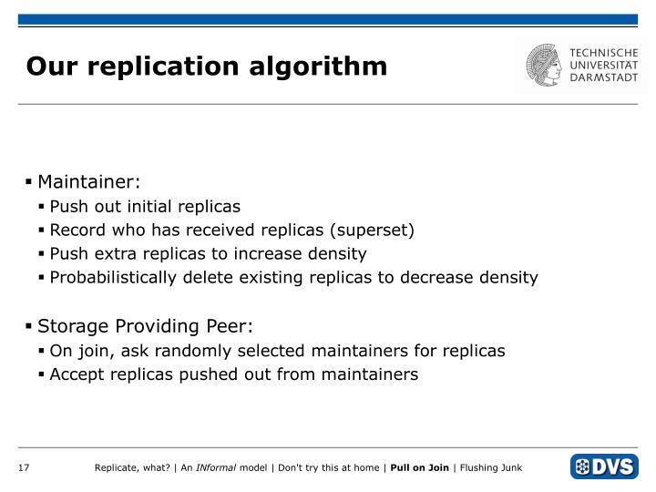 Our replication algorithm