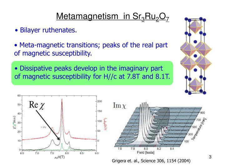Metamagnetism in sr 3 ru 2 o 7