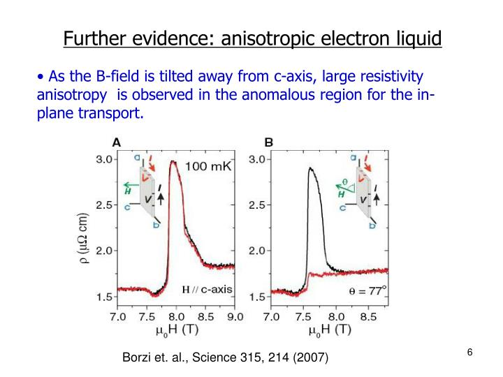 Further evidence: anisotropic electron liquid