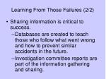 learning from those failures 2 2