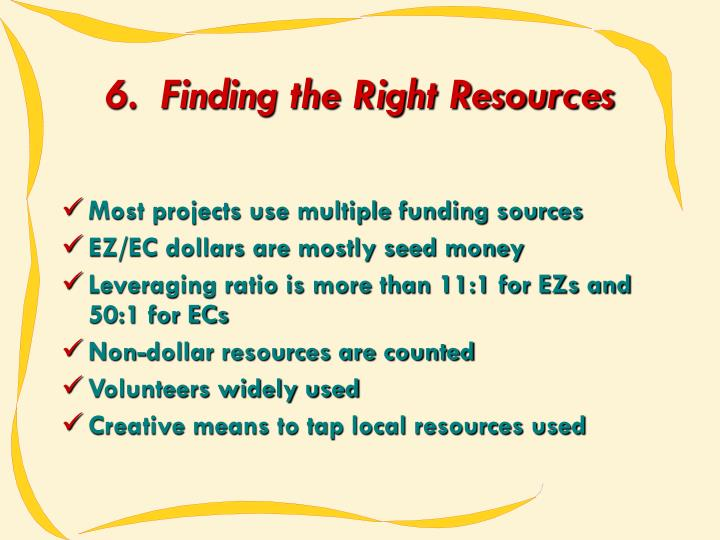 6.  Finding the Right Resources