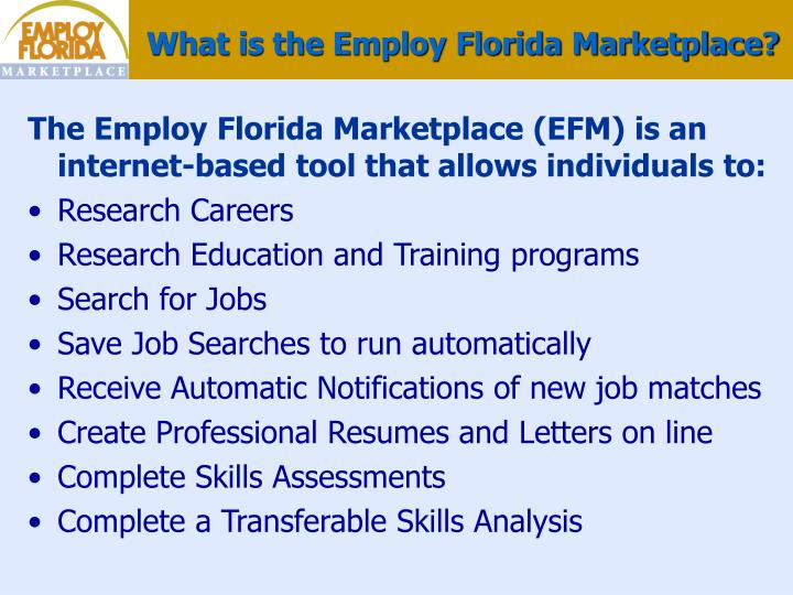 What is the Employ Florida Marketplace?