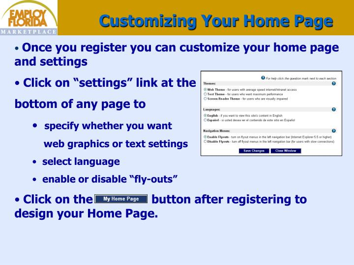 Customizing Your Home Page