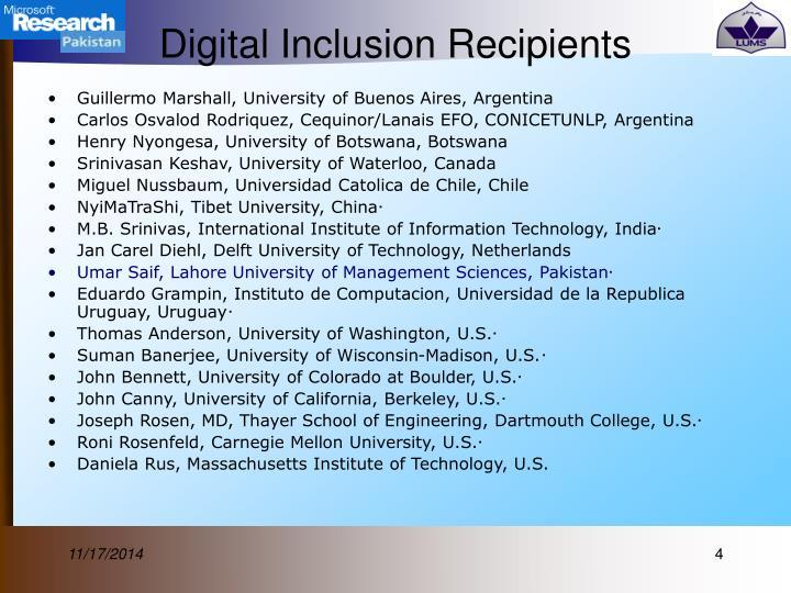 Digital Inclusion Recipients