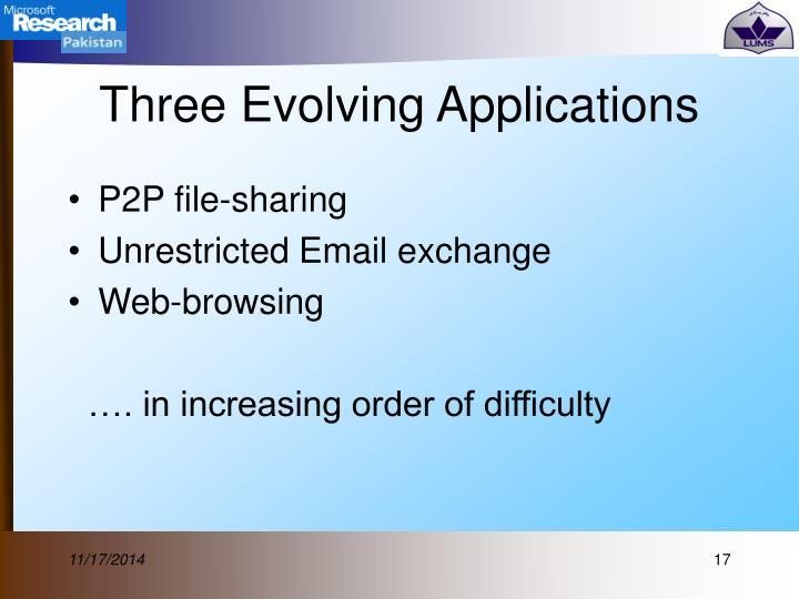 Three Evolving Applications