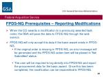 fpds ng prerequisites reporting modifications