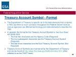 treasury account symbol format