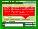 changes to the lease record information9