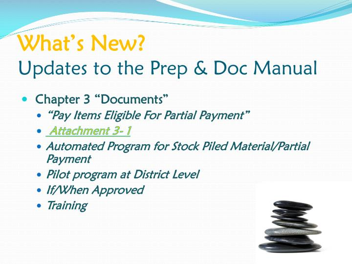 What s new updates to the prep doc manual