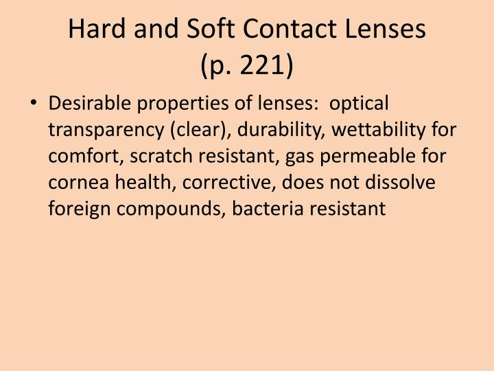 Hard and Soft Contact Lenses