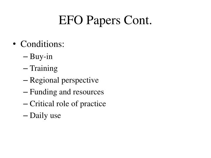 EFO Papers Cont.