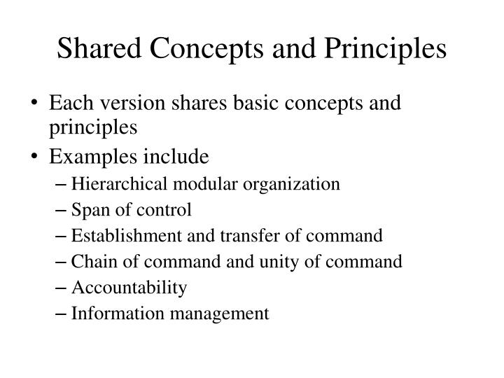 Shared Concepts and Principles