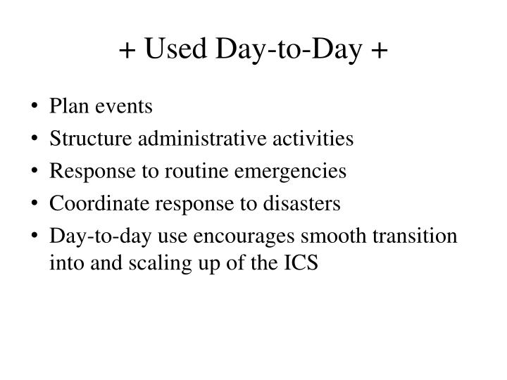 + Used Day-to-Day +