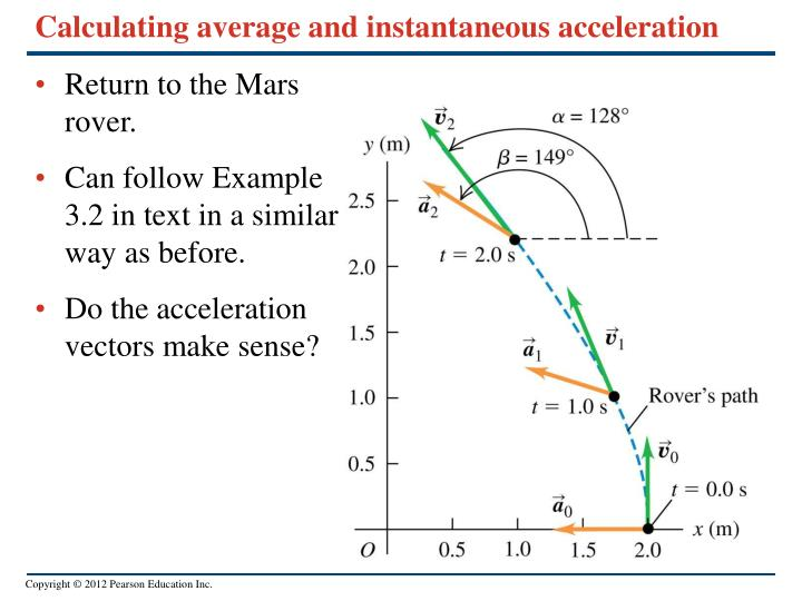 Calculating average and instantaneous acceleration