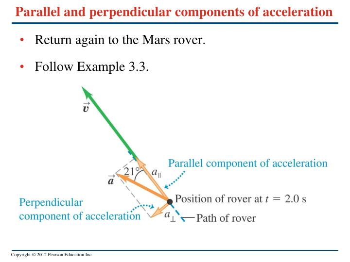 Parallel and perpendicular components of acceleration