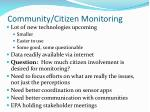 community citizen monitoring