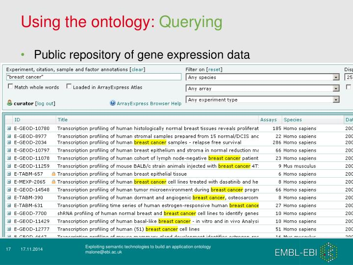 Using the ontology: