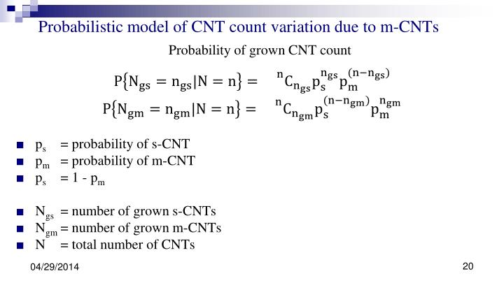 Probabilistic model of CNT count variation due to m-CNTs
