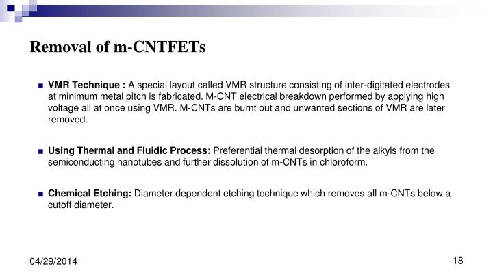 Removal of m-CNTFETs