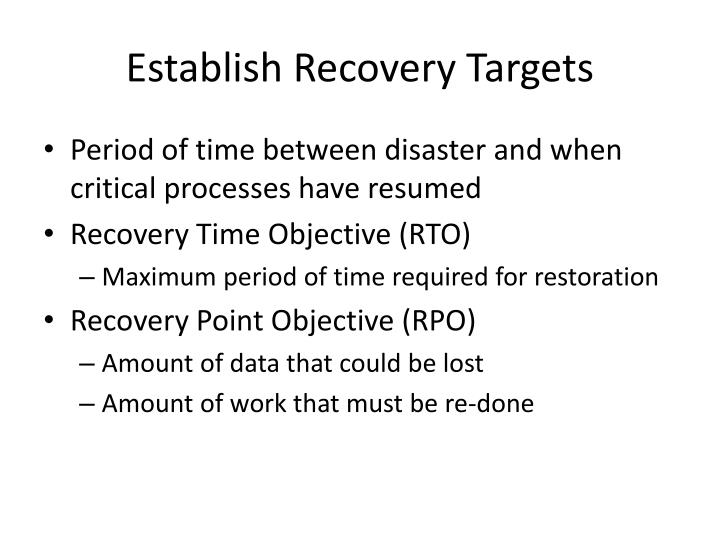 Establish Recovery Targets
