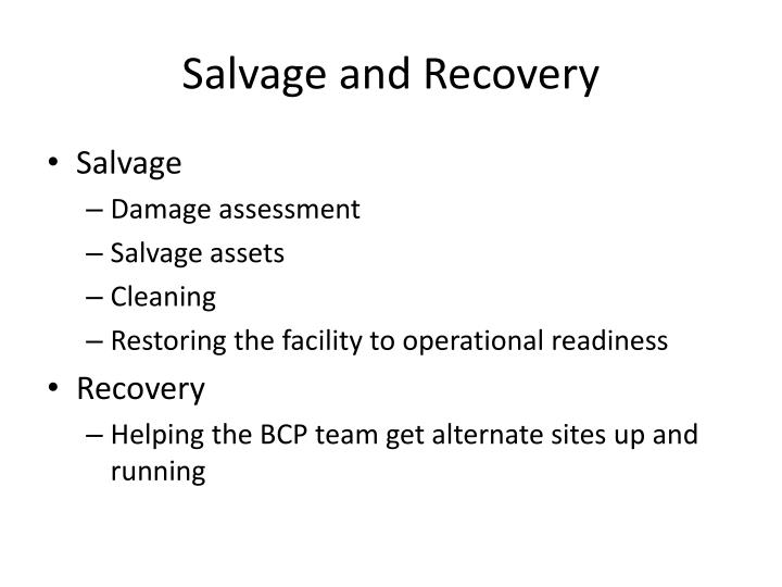 Salvage and Recovery