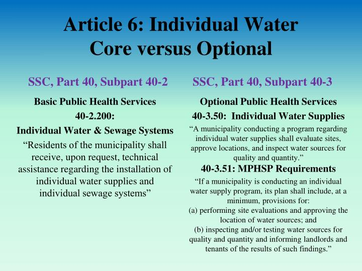 Article 6: Individual Water
