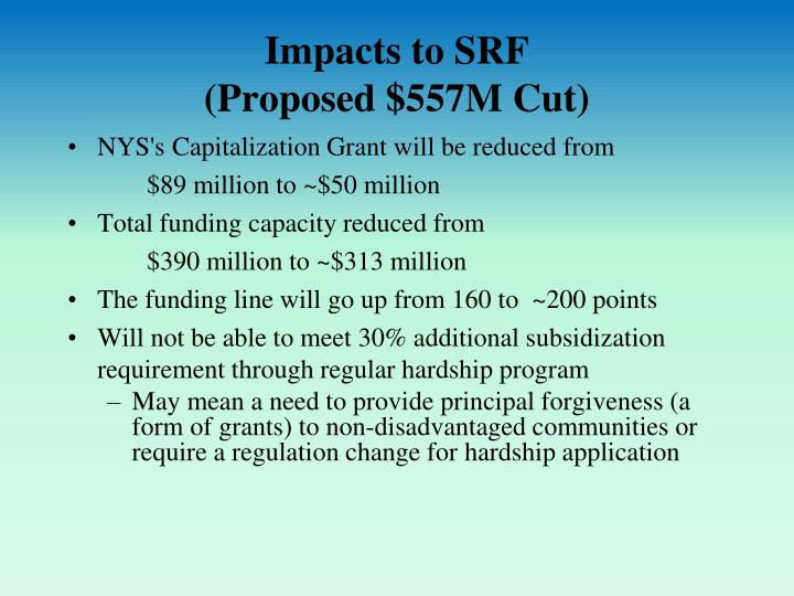 Impacts to srf proposed 557m cut